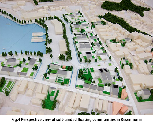 Perspective view of soft-landed floating communities in Kesennuma